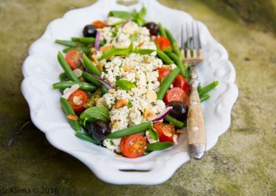 Salát ze zelených fazolek s tofu a mandlemi