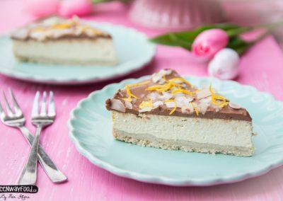 Citronový tofu cheesecake  s kakaovou polevou